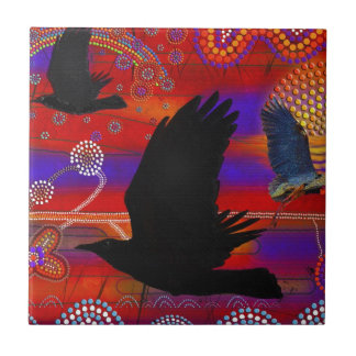 Sunset on Lake Wendouree Australian Aboriginal Art Tile