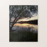Sunset on Lake With Tree Jigsaw Puzzle