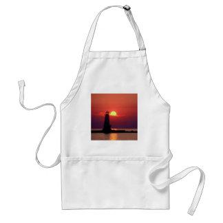 Sunset On Lighthouse Adult Apron