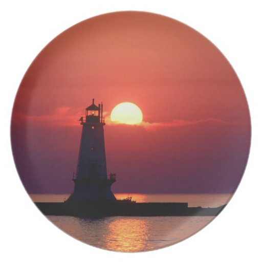 Sunset On Lighthouse Dinner Plates