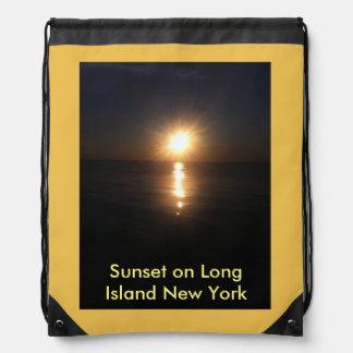 Sunset on Long Island New York Drawstring Backpack