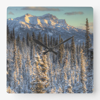 Sunset on Mount Fellows Square Wall Clock