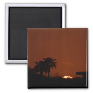 Sunset on Mustang Island 2 Inch Square Magnet