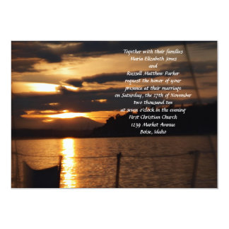 Sunset on on a Sail Boat Wedding Card