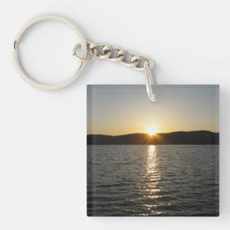 Sunset on Onota Lake: Horizontal Double-Sided Square Acrylic Keychain