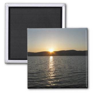 Sunset on Onota Lake: Horizontal 2 Inch Square Magnet