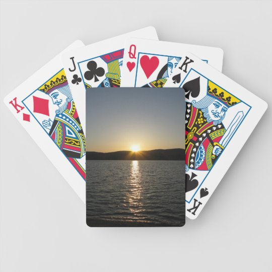 Sunset on Onota Lake: Vertical Bicycle Playing Cards