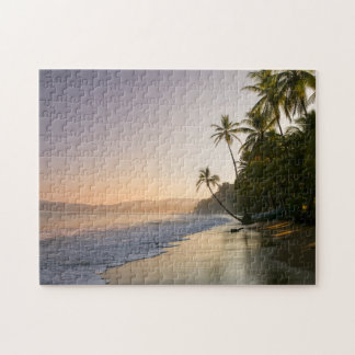 Sunset On Palm Fringed Beach, Costa Rica Puzzle