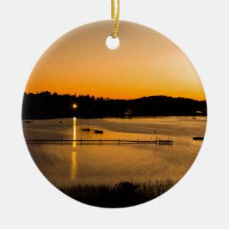 Sunset on Pickerel Lake Ceramic Ornament