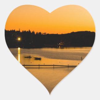 Sunset on Pickerel Lake Heart Sticker