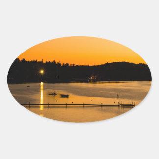Sunset on Pickerel Lake Oval Sticker