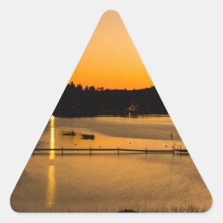 Sunset on Pickerel Lake Triangle Sticker