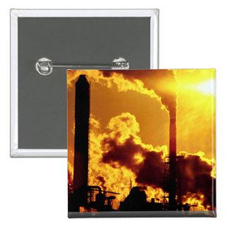 Sunset on pulp mill accentuates the air pollution pinback buttons