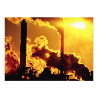 Sunset on pulp mill accentuates the air pollution personalized announcement