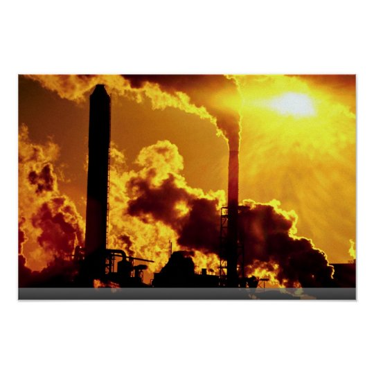 sunset on pulp mill accentuates the air pollution poster