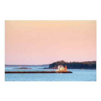 sunset on rockland breakwater and owls head lights photo print