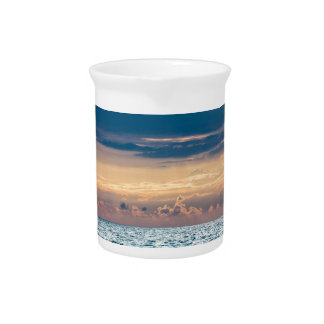Sunset on shore of the Baltic Sea Drink Pitcher