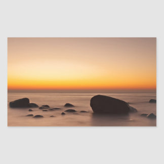 Sunset on shore of the Baltic Sea Rectangular Sticker