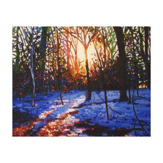 Sunset on snow 2010 canvas print