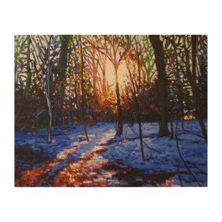 Sunset on snow 2010 wood wall art