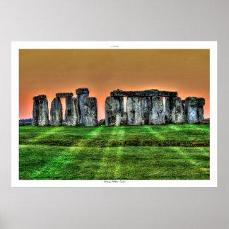 Sunset on Stonehenge Standing Stones England Poster