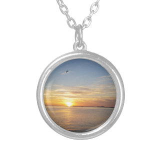 Sunset on Thanksgiving. Silver Plated Necklace