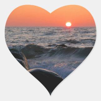 Sunset on the Baltic Sea coast Heart Sticker