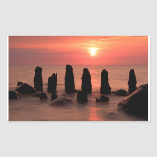 Sunset on the Baltic Sea Coast Rectangular Sticker