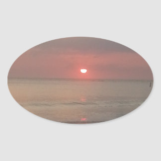 sunset on the bay oval sticker