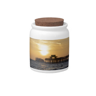 sunset on the beach at Naples Candy Jars