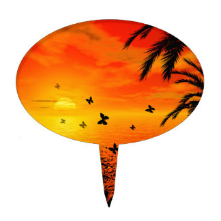 Sunset on the beach cake topper