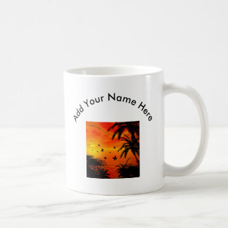 Sunset on the beach classic white coffee mug