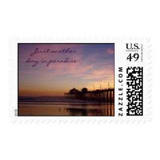 Sunset on the beach - Postage Stamp