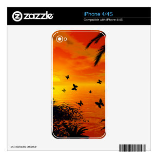 Sunset on the beach skins for iPhone 4S