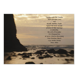 "Sunset on the Beach Wedding 5"" X 7"" Invitation Card"