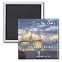 Sunset On The Beach Wedding Save The Date Magnet