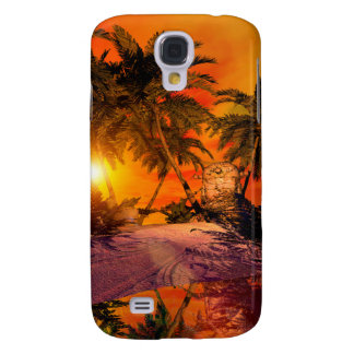 Sunset on the beach wit jungle head galaxy s4 cases