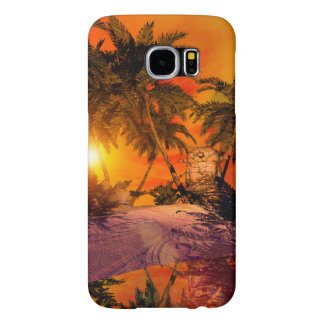 Sunset on the beach wit jungle head samsung galaxy s6 cases