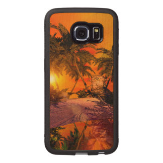 Sunset on the beach wit jungle head wood phone case