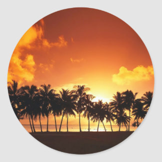 Sunset on the Beach With Coconut Tree Classic Round Sticker