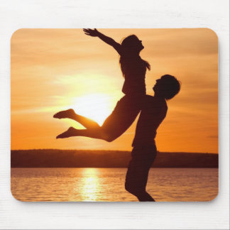 Sunset on the Beach With Couple Love Mouse Pad
