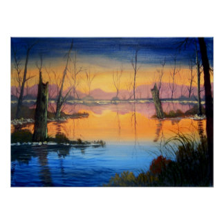 Sunset on the Blue Bayou Poster / Print