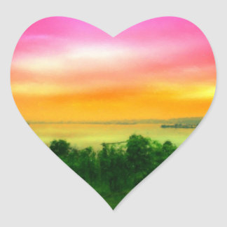 Sunset on the Bodensee Heart Sticker