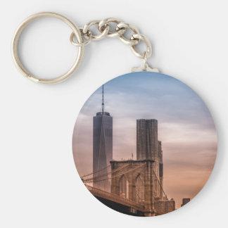 Sunset on the Brooklyn Bridge keychain