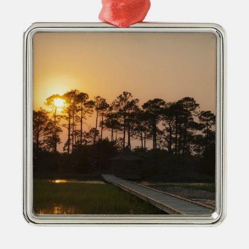 Sunset on the Carolina Coastal Christmas Ornaments