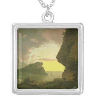 Sunset on the Coast near Naples, c.1785-90 Silver Plated Necklace