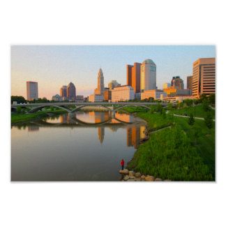 Sunset on the Columbus Skyline Poster