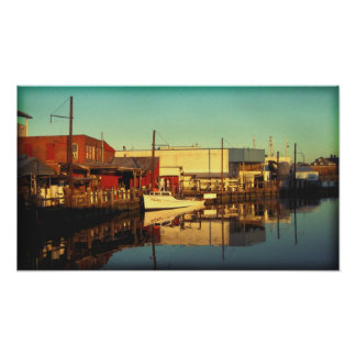 Sunset on the dock poster