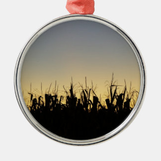 Sunset on the Farm Round Metal Christmas Ornament