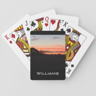 Sunset on the farm playing cards
